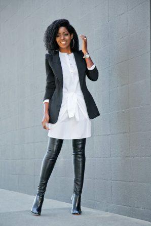 Tuxedo Blazer + Tie Front Shirtdress + OTK Boots