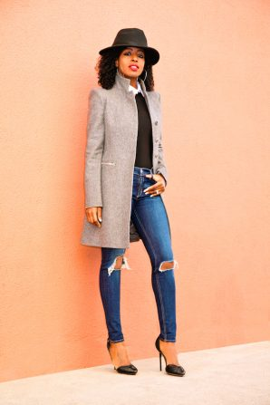 Structured Gray Coat + Bodysuit + Ripped Skinnies