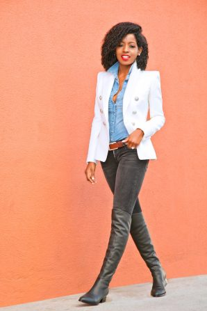 Double Breasted Blazer + Denim Shirt + Ripped Jeans