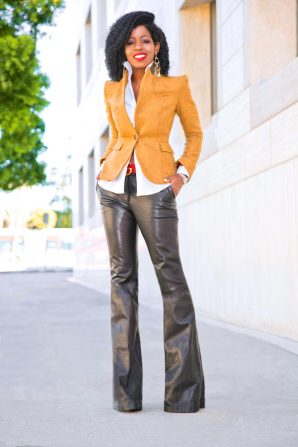 Elbow Patch Blazer + Button Down + Leather Wide Leg Pants