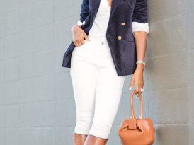 Velvet Blazer + Button Down Shirt + White Jeans
