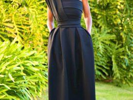 One Shoulder Pleated Midi Dress