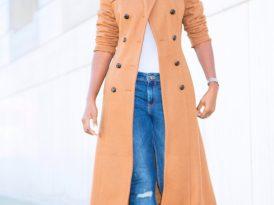 Camel Wool Coat + Tank Bodysuit + Distressed Skinnies