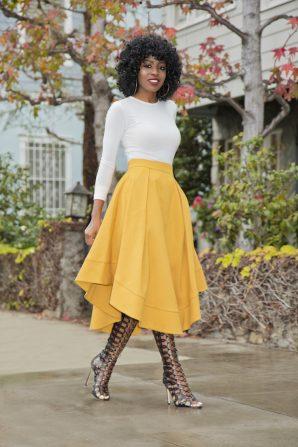 Structured Blazer + Bodysuit + Wave Hem Midi Skirt