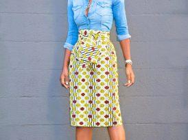 Fitted Denim Shirt + Belted Ankara Wrap Skirt