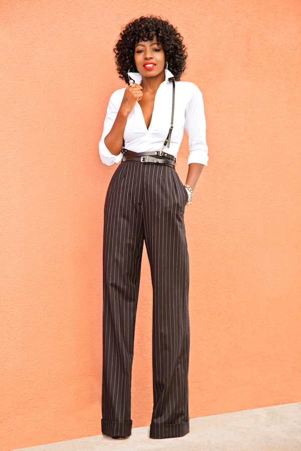 Style Pantry | Fitted Button Down Shirt   PinStripe Wide Leg Pants