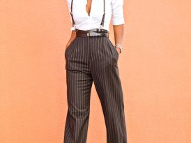 Fitted Button Down Shirt + PinStripe Wide Leg Pants
