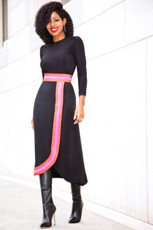 Bodysuit + Contrast Wave Midi Skirt