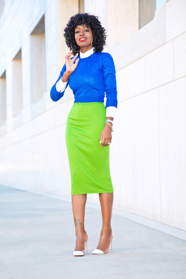 Style Pantry | green pencil skirt
