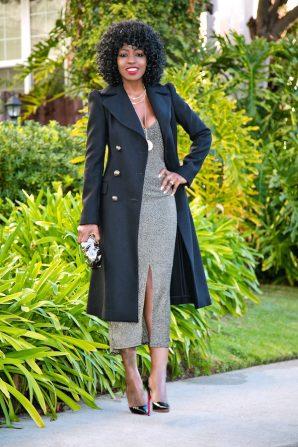 Structured Coat + Glittery Midi Dress