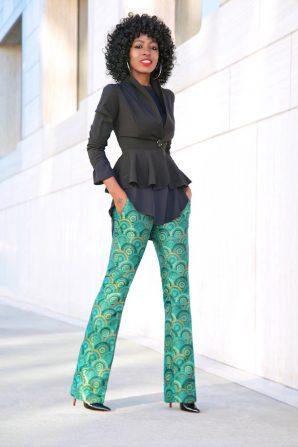 Peplum Blazer + Tunic + Printed Jacquard Pants