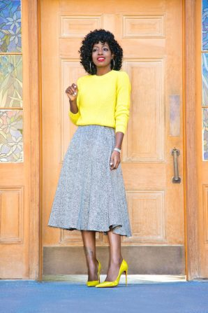 Crew Neck Sweater + Swing Midi Skirt