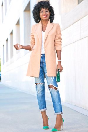 Cocoon Coat + Tee + Distressed Boyfriend Jeans