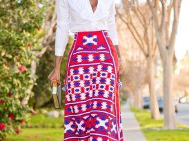Ruffle Button Down Shirt + Mexico Embroidered Linen Skirt