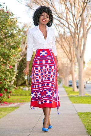 Ruffle Button Down Shirt + Mexico Embroidered Linen Skirt