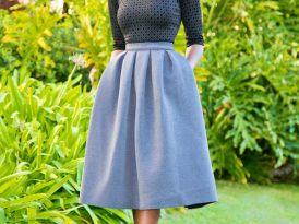 Dress (Worn as Blouse) + Full Pleated Midi Skirt