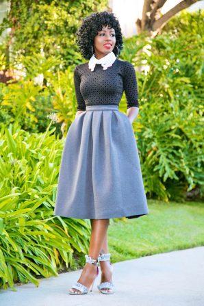 Dress (Worn as Blouse) + Full Pleated Midi Skirt