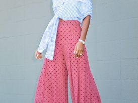 Gingham Off Shoulder Top + Polka Dot Wideleg Pants