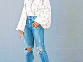 Floral Bishop Sleeve Top + High Waist Distressed Jeans