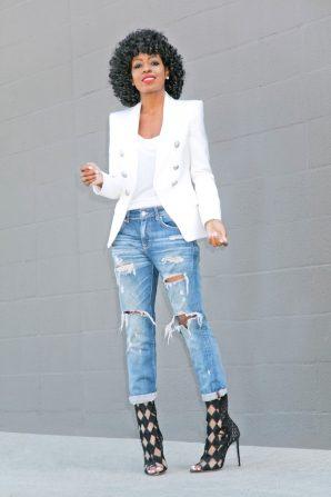 Double Breasted Blazer + Tee + Distressed Boyfriend Jeans