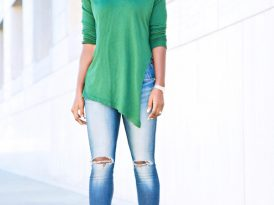 Side Slit Knit + Ankle Length Jeans