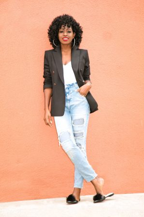Double Breasted Blazer + White Tee + Distressed High Waist Jeans