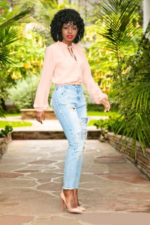 Ruffled Button-Front Blouse + High Waist Distressed Jeans