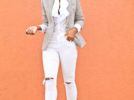 Wool Blazer + Ruffle Button Down + Ripped White Jeans