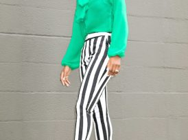 Bow Blouse + Black & White Striped Ankle Pants