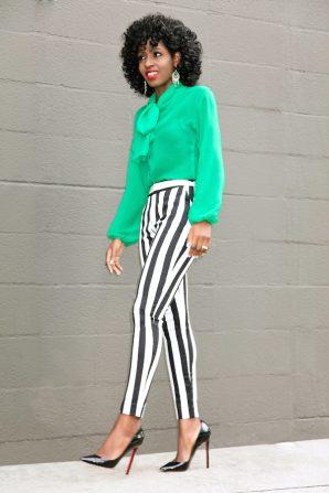 Bow Blouse + Black & White Striped Ankle Pants