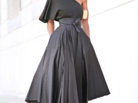 One Shoulder Top + Belted Front Slit Skirt