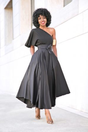 One Shoulder Top + Belted Front Slit Skirt