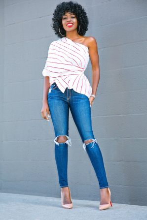 Deconstructed Button Down Shirt + Ripped Skinny Jeans