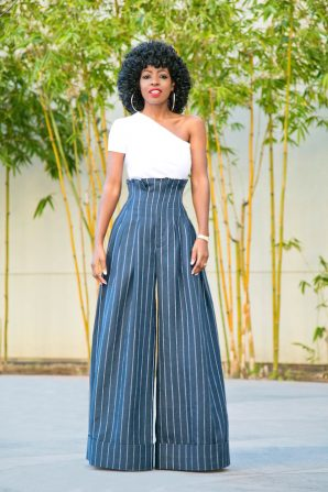 One Shoulder Top + High Waist Striped Pants