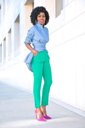 Belted Denim Tunic Shirt + Pleated Ankle Length Pants
