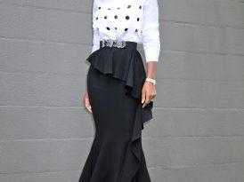 Laser-Cut Appliquéd Top + Ruffled Midi Skirt