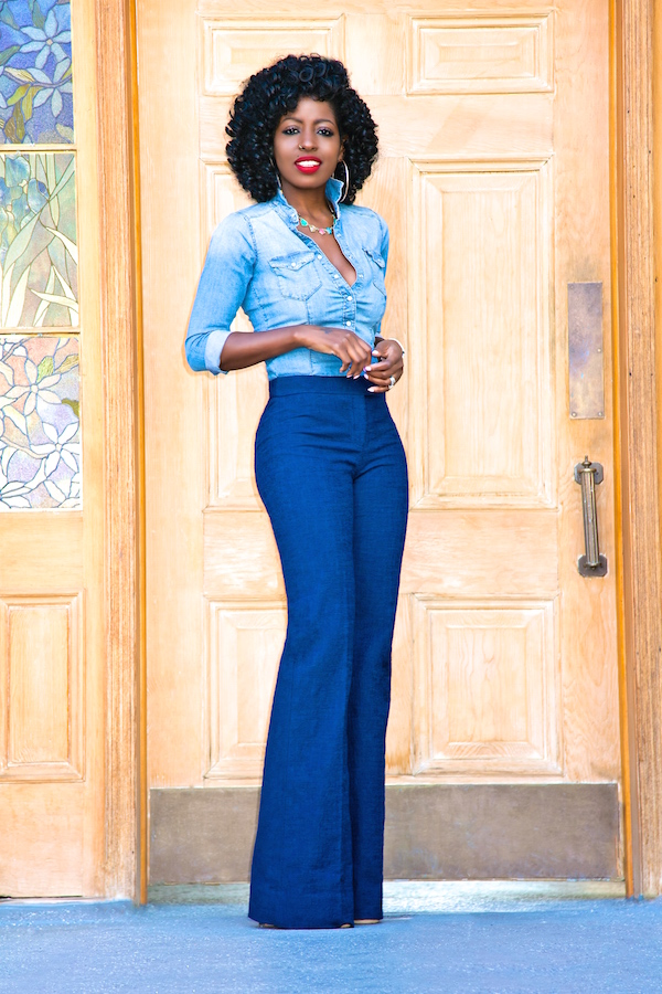 Style Pantry | Fitted Denim Shirt   Wide Leg Pants