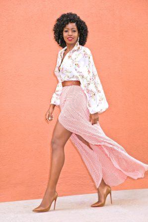 Printed Bishop Sleeve Blouse + Printed Wrap Maxi Skirt