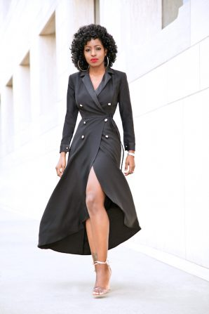 Double Breasted High/Low Wrap Dress