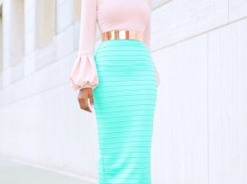 Bell Sleeve Top + Ribbed Pencil Skirt