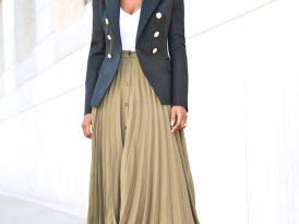 Double Breasted Blazer + V-Neck Body + Pleated Midi Skirt