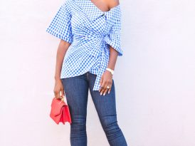 Gingham Wrap Top + High Waist Levi's Jeans