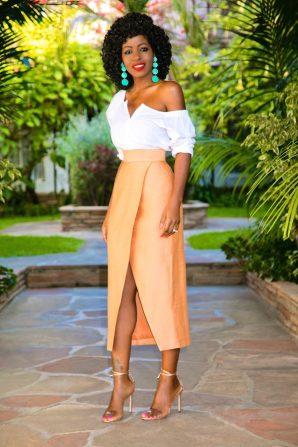 Off Shoulder Button Down + Front Slit Tulip Skirt