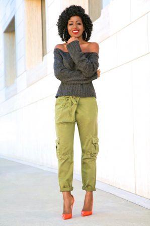DIY Off Shoulder Sweater + Cargo Khaki Pants