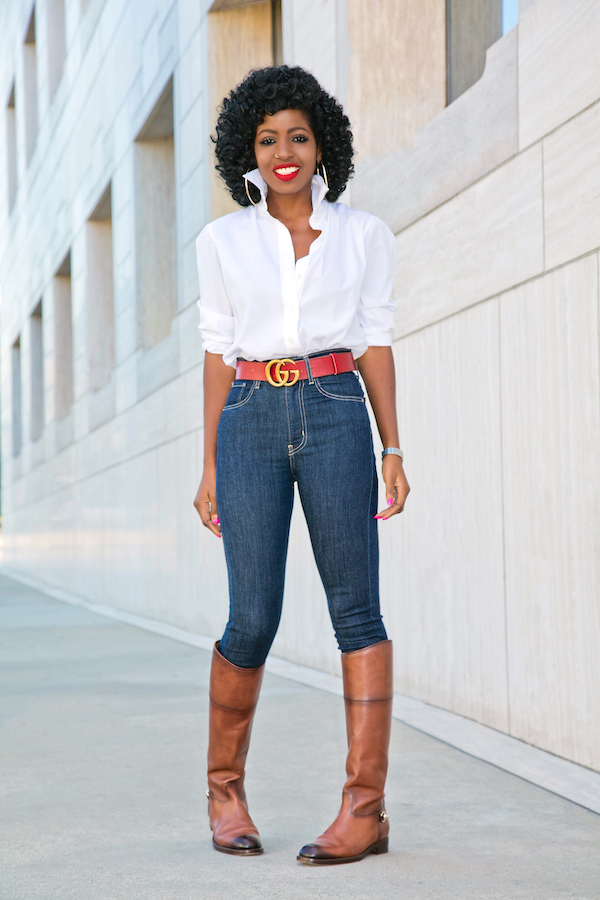Style Pantry | Button Down Shirt   High Waist Levi's Jeans