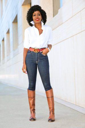 Button Down Shirt + High Waist Levi's Jeans