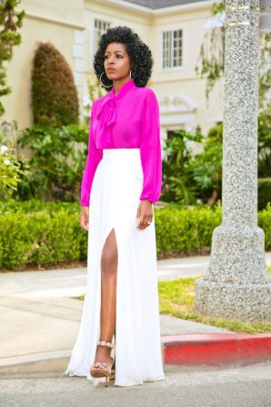 Tie Front Blouse + Belted Maxi Skirt
