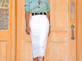 Oversized Military Shirt + Lace Pencil Skirt