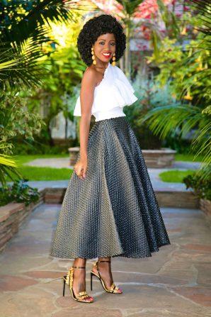One Shoulder Ruffled Top + Tea Length Swing Skirt