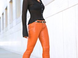 Pleated Button Down Shirt + Cognac Leather Pants